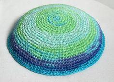 kippah turquoise and blue by crochetkippah on Etsy