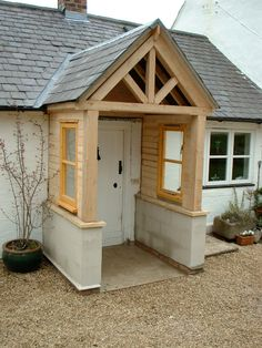A simple yet attractive way of enhancing your home is a bespoke Oak porch, a stunning feature which also offers you a practical addition to your home Diy Door Canopy, Front Porch Design, Front Porches, Porch Windows, House Extensions, Shed, New Homes, Patio, Architecture