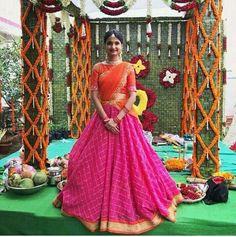 55 Bridal Lehenga designs that will inspire you - Wedandbeyond Half Saree Lehenga, Lehnga Dress, Indian Lehenga, Sari, Kids Lehenga, Anarkali, Half Saree Designs, Lehenga Designs, Saree Blouse Designs