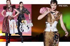 Sasha Pivovarova (Center), by Steven Meisel, for Prada F/W 2016 (Stella Tennant, right) Stella Tennant, Fashion Advertising, Advertising Campaign, Prada, Sasha Pivovarova, Covet Fashion, Fashion Design, Fashion Walk, Fashion 2016