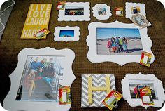 Use Command strips to hang pictures..I'm so doing this from now on. Love these frames AND the chevron initial. Oh...and the yellow, white and gray. =)