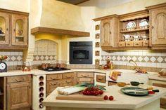 Cuisine cottage classique en plaqu ch ne clair fa ade encadrement droit m - Modele de cuisine rustique ...