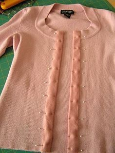 Refashion a pullover into a cardigan ~ tutorial