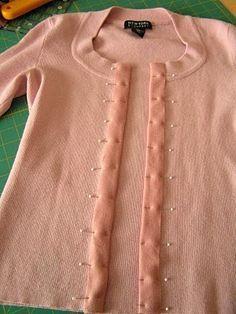 Refashion a pullover into a cardigan ~ tutorial