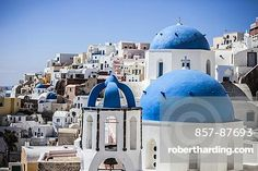 Blue domed rooftops in Santorini, Greece.
