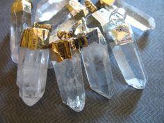 Shop Sale,, 5 10 25 pcs, QUARTZ Point Pendant, Crystal Quartz Point, 24k Gold or Sterling Silver Electroplated, 30-45 mm, ap70.1.3 bcp