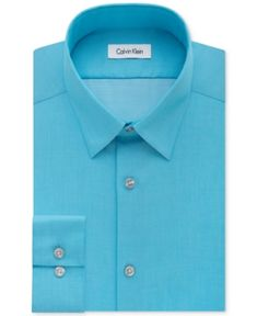 Calvin Klein Steel Men's Slim-Fit Non-Iron Performance Herringbone Dress Shirt - Blue 15.5 32/33