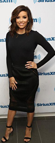 Who made  Eva Longoria's black sandals and mesh skirt?