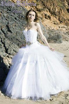 ea9bc7e7779 White Tulle Ballgown and Corset Bridal Gown. Daisy Viktoria