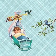 Lief #geboortekaartje met plaatjes uit de 'oude doos'