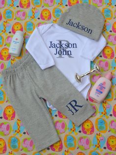 0c515534f5f4b Baby Boy Coming Home Outfit Monogrammed Baby Boy Clothes Baby Boy Hat  Personalized Baby Boy Outfit
