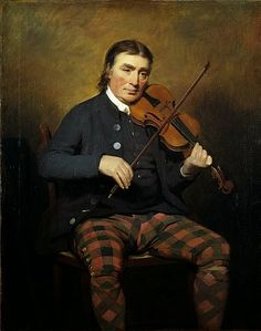 Niel Gow violinist and composer Scotland's most famous fiddler and composer, lived in the cottage where he had been born, just outside Dunkeld in Perthshire by Sir Henry Raeburn, 1787.