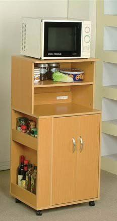 """Office Microwave Cart with Spice Racks and Power Strip (Natural Finish) by Acme Furniture. $104.35. Maple finish. Casters for easy mobility. Perfect for small spaces. Features open shelves, a cabinet and drawer for hidden storage. Dimensions: 24"""" x 16"""" x 46""""H. Short on space? This great compact kitchen cart is the solution! This rolling cart from the Wales collection comes in a versatile maple veneer with polished hardware. Features open shelves, a cabinet and drawer for hi..."""