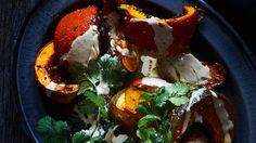 Roasted spiced pumpkin with tahini lemon dressing recipe : SBS Food