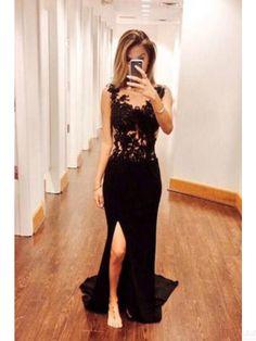 lace prom dresses,black prom dress,split evening dresses #SIMIBridal