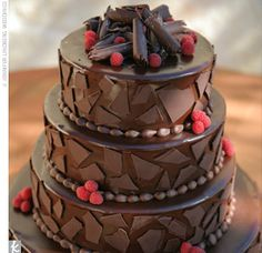The groom's cake was a chocolate-raspberry truffle cake covered with a mosaic of chocolate pieces.