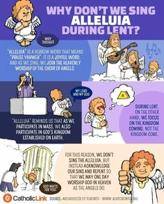 "Infographic: Why don't we sing ""Alleluia"" during Lent? Catholic Prayers, Catholic Lent, Catholic Sacraments, Lent Prayers, Catholic Religious Education, Catholic Catechism, Catholic Mass, Religious Studies, Catholic Quotes"