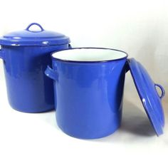 Antique Blue Enamel Canisters W/ Lids   2 Cornflower Blue And White Vintage  Kitchen Storage