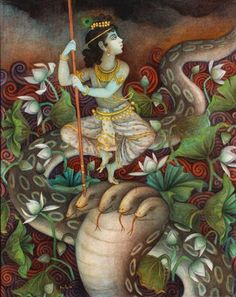 Kalia Mardan - Sri Krishna & kalia the serpent king Bratin Khan Bal Krishna, Krishna Leela, Krishna Art, Krishna Images, Lord Krishna, Shiva, Illustrations, Illustration Art, Indiana