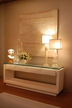 Contemporary console tables are essential to design pieces in any modern interior, a modern console table is a bright addition to a living or dining room. Home And Living, Living Room, Interior Decorating, Interior Design, Hall Interior, Modern Interior, Entryway Decor, Home Accessories, Sweet Home