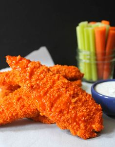 Healthy Baked Buffalo Chicken Tenders with Dude Diet Ranch. A lightened up spin on a game day favorite!