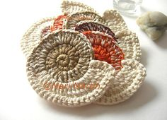 Crochet Coasters Nautilus Shell | mjmcrafts.blogspot.com