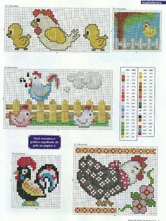 ♥ Mi Dot Gráficos Cruz ♥: Semaninha: pollos, gallos y pollos en punto de cruz