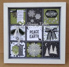 Christmas Shadow Boxes, Christmas Collage, Christmas Frames, Stampin Up Christmas, Christmas Cards To Make, Christmas Paper, Xmas Cards, Handmade Christmas, Christmas Signs