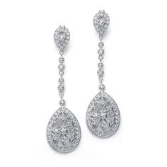 Graceful Faux Marcasite Wholesale Bridal Dangle Earrings - Mariell Bridal Jewelry & Wedding Accessories