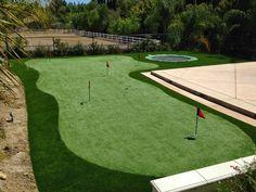 CA backyard Golf Green Golf Green, Golf Tips, Garden Ideas, Golf Courses, Celebrity, Backyard, Learning, Simple, Building