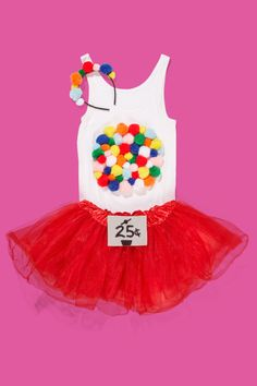 Bubble Gum Machine: Glue multi-colored pom-poms onto a white tank top and a black headband. Add a DIY 25¢ sign to a red skirt so everyone gets the picture for this last minute DIY Halloween costume! Find more easy and cheap last minute DIY Halloween costume ideas for kids and adults here.