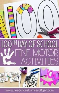 This fine motor pack is full of day of school activities! They're perfect for morning tubs or stations. The skills include cutting, gluing, tweezing, pinning, and much more. 100th Day Of School Crafts, School Ot, 100 Days Of School, First Day Of School, School Projects, School Stuff, School Ideas, Fine Motor Activities For Kids, Pre K Activities