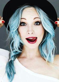 alternative, beauty, blue hair, boho, candice accola, caroline forbes, cas