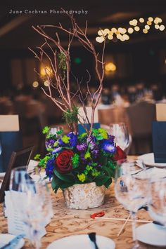 rustic centerpiece with branches