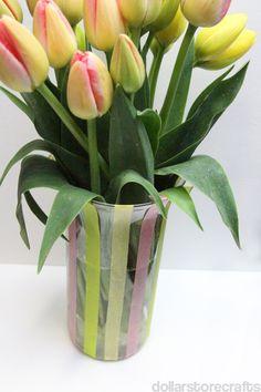 easy washi tape vase with tulips