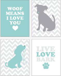 Who doesn't love #puppy themed #nursery_art decor? Charming dogs and puppies designs are perfect for a baby's bedroom. This modern #puppies print set will add a pop of color to your little one's nursery or playroom. INSTANT DOWNLOAD   4 JPEGS  puppy love nursery by giraffesnstuff, $15.00