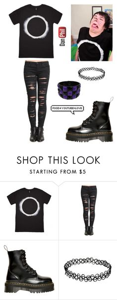 """""""Danisnotonfire"""" by xxemoxbutterflyxx ❤ liked on Polyvore featuring BLANKNYC and Dr. Martens"""