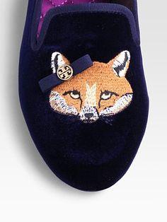 Tory Burch - Fox Velvet Smoking Slippers SWEET MOTHER