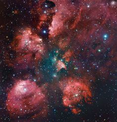 The Cat's Paw Remastered - The Cat's Paw Nebula is revisited in a combination of exposures from the MPG/ESO 2.2-metre telescope and expert amateur astronomers Robert Gendler and Ryan M. Hannahoe. The distinctive shape of the nebula is revealed in reddish puffy clouds of glowing gas against a dark sky dotted with stars. - Credit: ESO/R. Gendler & R.M. Hannahoe