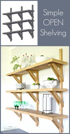 Wood Projects How to make DIY Bracket Open Shelving - Love the open shelving idea, but want something a little different? Then these bracket open shelves are the thing for you! Complete build plans available. Woodworking Joints, Fine Woodworking, Woodworking Crafts, Woodworking Beginner, Woodworking Organization, Woodworking Quotes, Youtube Woodworking, Intarsia Woodworking, Woodworking Patterns