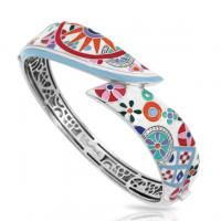 Pashmina White Bangle by Belle Etoile. 925 Sterling Silver. Fashion Jewelry. Italian Enamel.