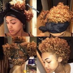 """""""@hazel_goddesss figured out a way to preserve a perm rod set. """"Put my hair into 4 very loose ponytails, tied my satin scarf around my edges, and in he morning fluffed it out and it look good as new."""" Have you tried this method on your type 4 hair?"""" Photo taken by @4chairchicks on Instagram, pinned via the InstaPin iOS App! http://www.instapinapp.com (10/29/2015)"""