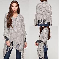 Love Stitch Grey Cable Knit Poncho Sweater #LoveStitch #Poncho
