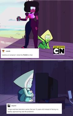 I think we can all relate to peridot Steven Universe Theories, Steven Universe Funny, Universe Art, Lapidot, Force Of Evil, Cartoon Network, Favorite Tv Shows, Adventure Time, Geek Stuff