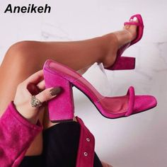 Special Price for Eilyken 2019 Summer New Women Leisure slippers Fashion Open-toed Women's Sandals Slides Shoes Party Square High Heels slip. Pink Block Heels, Pink Heels, Hot High Heels, Womens High Heels, Stilettos, Women's Shoes, Senso Shoes, Fashion Slippers, Sexy Sandals