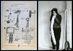 """Eva Hesse's journal page with drawings of 1966 sculptures. Photo of Hesse in her Bowery studio, also 1966, by Gretchen Lambert. Documentary """"Eva Hesse"""" will be released on DVD and iTunes this summer. Join mailing list at www.evahessedoc.com for up-to-date notice on release date."""