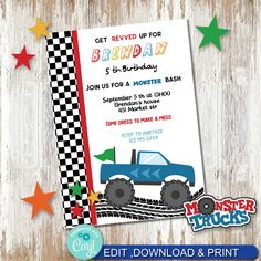 Monster truck Bash invite, Monster Truck Party Printable invite, Party Printables. by AdrisCorner on Etsy