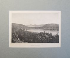 1820s Engraving of Lake Avernus - Elizabeth Frances Batty #britain #british #british-poster #city #cityscape #english #engraved #engraving #hills #italia #italy #lake #lake-avernus #landscape #matted #nature #old-print #poster #print #river #scenic #trees #view #vintage #vintage-poster #vintage-print #water