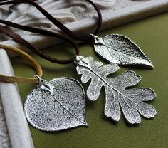 Silver Leaf Necklace, aspen, oak or laurel, fall, autumn gifts $40. I have a pin like this. I love these shapes!