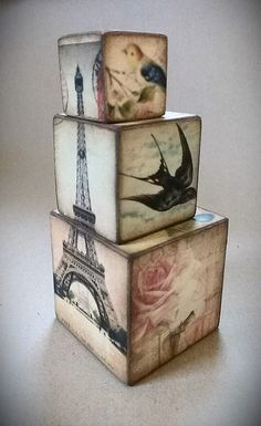 Vintage inspired Parisian themed wooden blocks by LiziLoves, £15.00